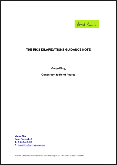 The RICS Dilaps Guidance Note
